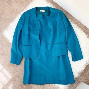 Pendleton Vintage Wool Skirt and Blazer Suit Set